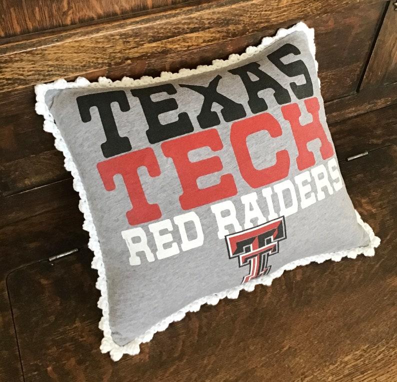 Texas Tech Hand Crochet Trimmed T-shirt Pillow image 0