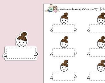 FLOSSIE NOTE BOX | Planner Stickers | Quarter Box | Character | Hand Drawn | Erin Condren | Tn | S337