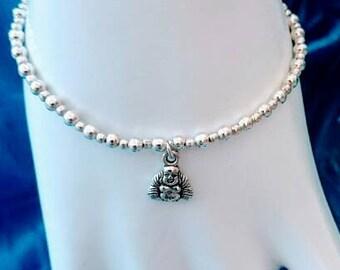 Silver beaded Buddha charm bracelet   silver plated beads bracelet Buddha bracelet UK