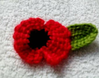 Crochet poppy flower pin badge british memory days red poppy etsy red poppy crocheted brooch crochet poppy badge knitted poppy flower brooch charity uk mightylinksfo