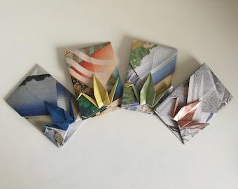 4 handmade origami crane envelopes (Hokusai prints)