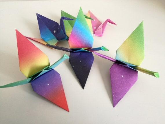 Set Of 6 Handmade Gradients Rainbow Color Origami Cranes Etsy