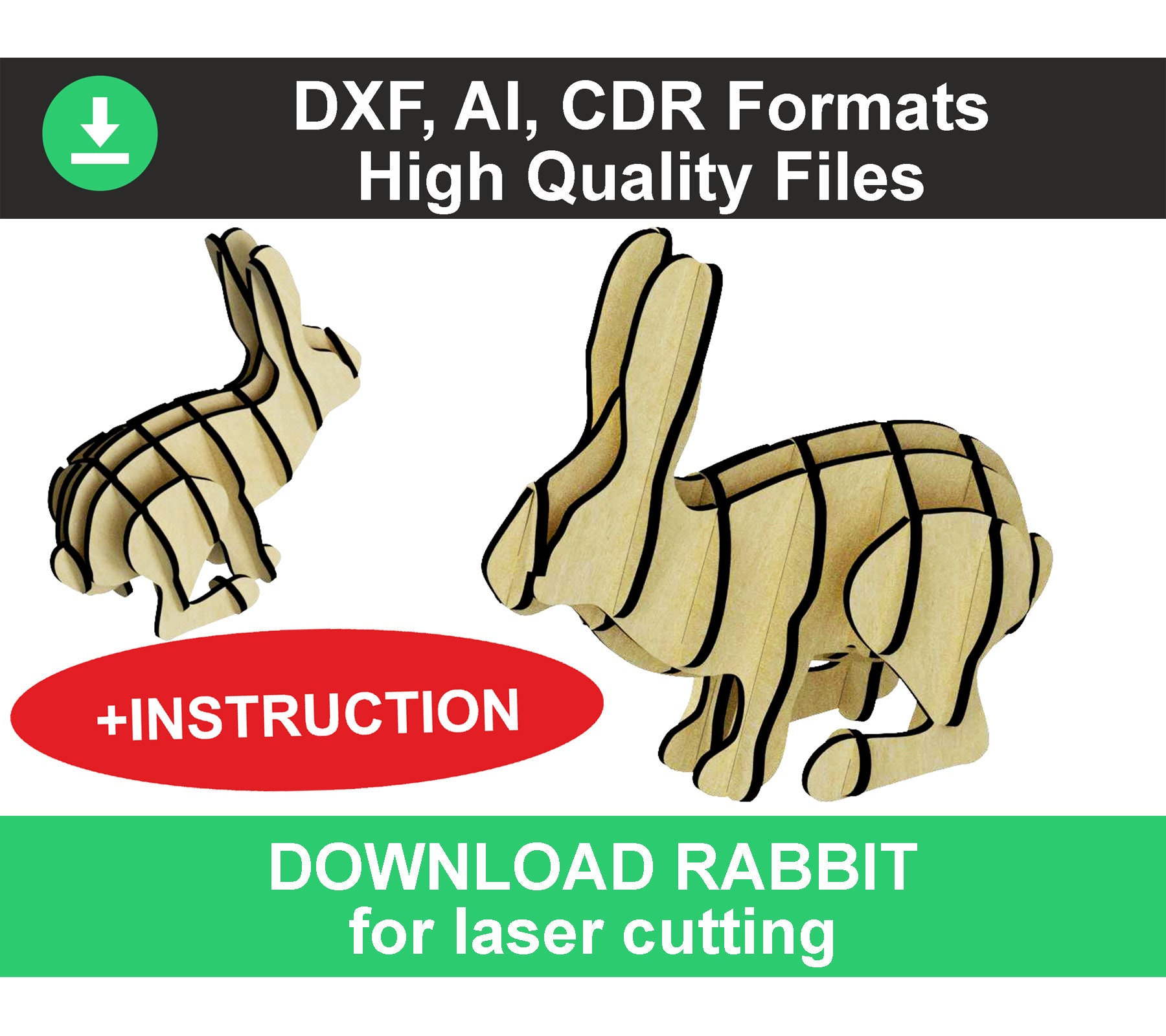 3d Puzzle Easter Rabbit Dxf Files Easter Bunny Laser Cut Files Plywood Laser Cut Wood Easter Decorations Dxf Rabbit Easter Svg Laser Cut Dxf