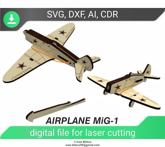 plane Digital design design for laser CNC and CNC milling Vector cutting plan 3D puzzle CNC file. 3D puzzle