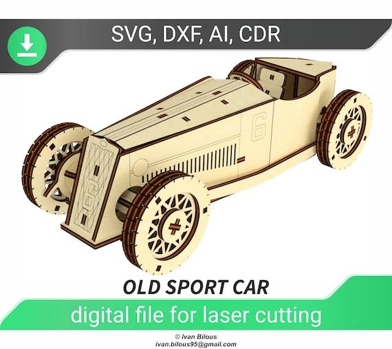voiture glowforge svg fichier coupé pour laser coupé voiture de sport 3d puzzle dxf fichiers pour les fichiers laser vieux plan de voiture cnc modèle pour la machine laser , dxf voiture