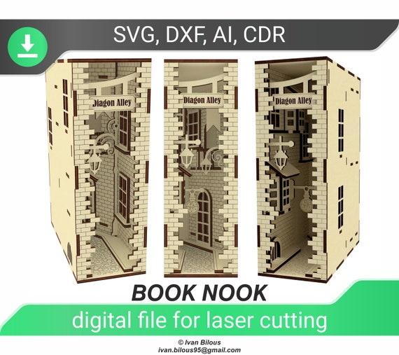 livre nook svg diagon alley file for laser cut glowforge svg shelf insert alley laser file book nook laser pattern digital file svg,ai