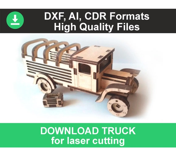 Custom laser cutting plywood cut cnc pattern dxf files for laser cut model  3d puzzle vintage truck svg monster truck svg red truck svg truck
