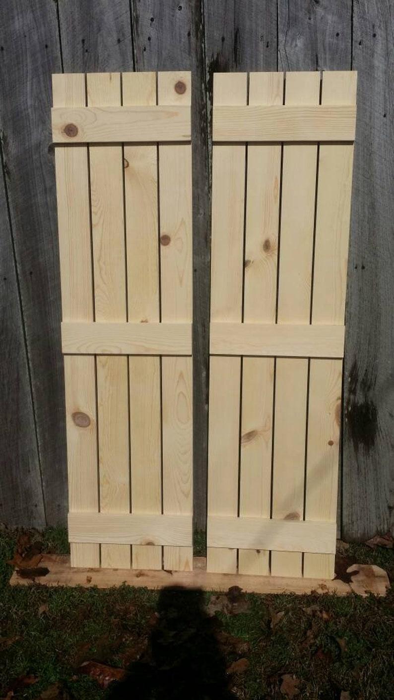 Set Of Two Unfinished Rustic Pine Shutters Board N Batten Style Wood Shutters