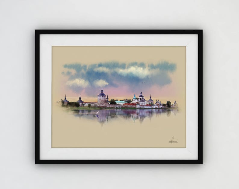 Russia monastery Digital Download for print Russia Watercolor poster orthodox Russia Picturesque landscape Big poster
