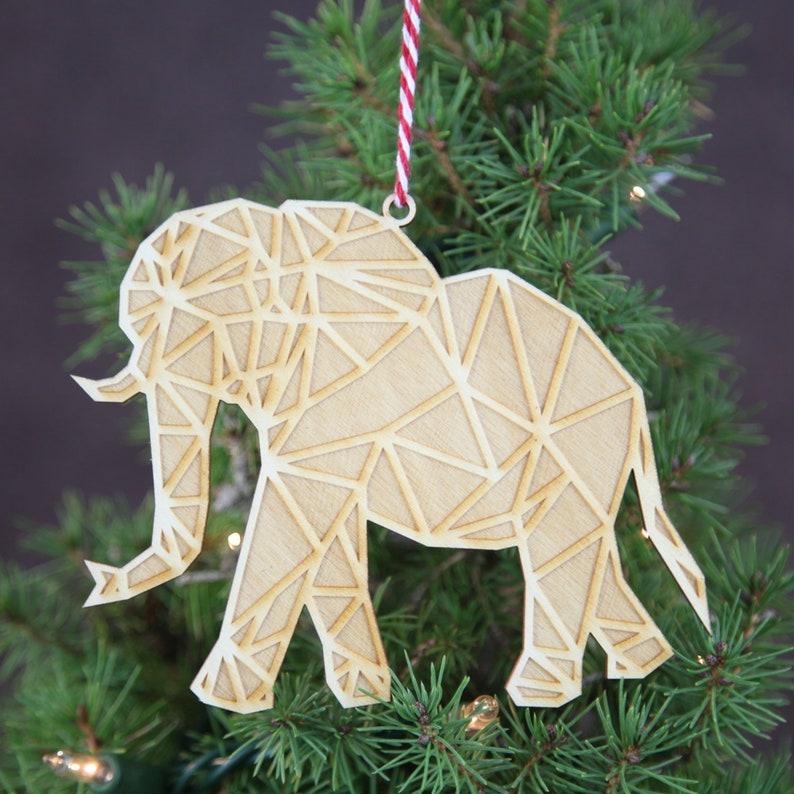 Geometric Christmas Ornament Wooden Elephant Christmas Ornament Safari Ornament Modern Christmas Ornament Modern Christmas Decor X Mas Gift
