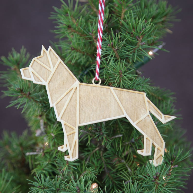Pitbull Christmas Ornament.Geometric Christmas Ornament Wooden Pitbull Christmas Ornament Modern Christmas Ornament Modern Christmas Decorations Christmas Gifts Decor