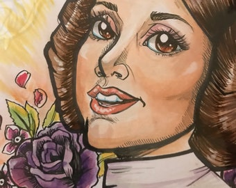 Princess Leia / Carrie Fisher Watercolor Art OOAK