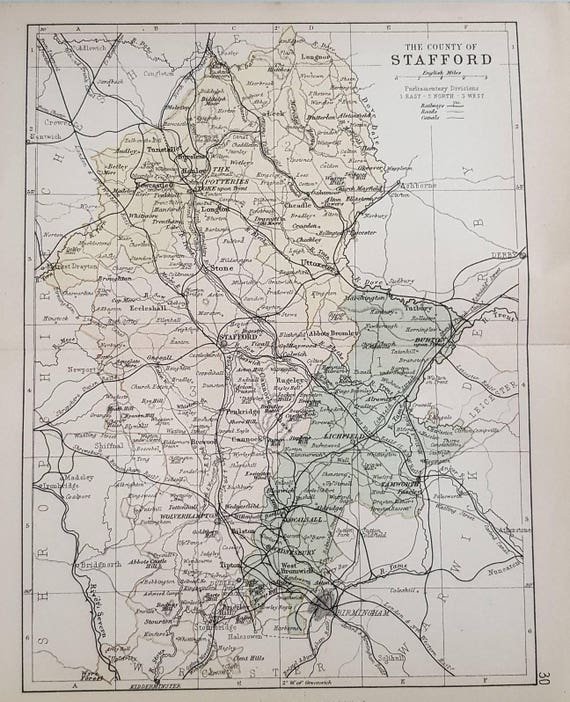 1882 Staffordshire County Map Antique Map England English Etsy