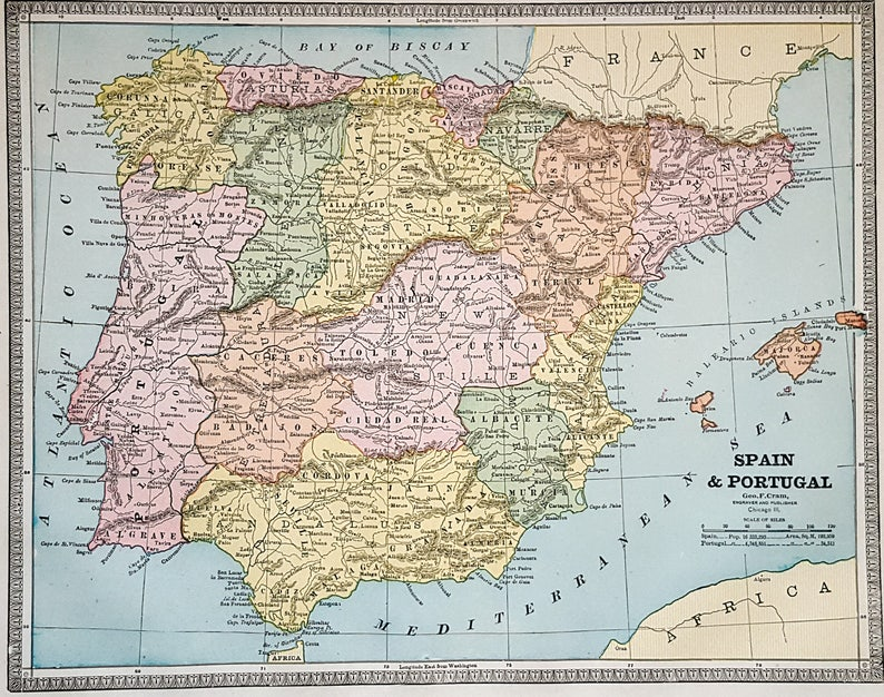 Map Of Portugal Spain.Spain Map Portugal Map 19th Century 1886 European Etsy