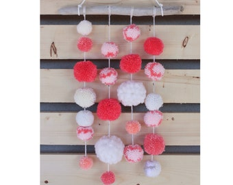 Pink and Peach Pom Pom Wall Hanging