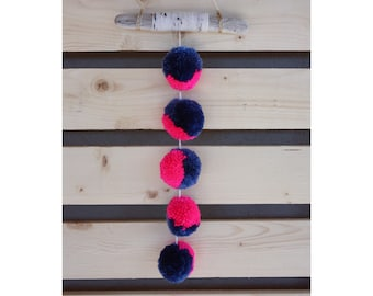 Pink and Blue Pom Pom Wall Hanging