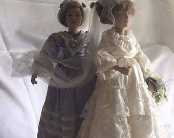 "Danbury Mint ""Wedding Day Final Touches"" Porcelain Dolls"