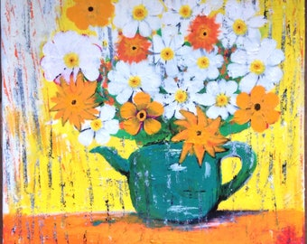TeaPot and Flowers Art by Adli