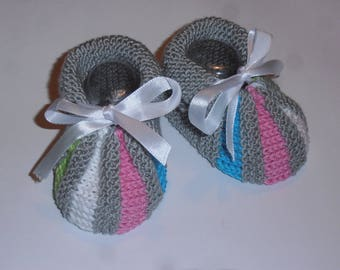 "Multi-color ""baby Acidule' knitted handmade slippers."