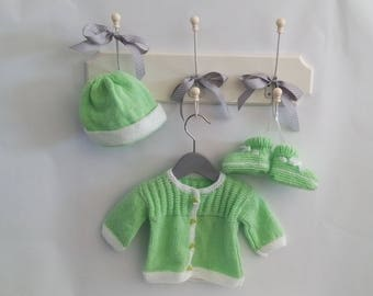 """Whole jacket, hat and slippers green and white """"Baby soft"""" hand knitted"""