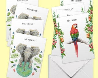 8 Greeting cards have a nice day + great day with envelope-handpainted-postcard-elephant-parrot-botanical-A6 format