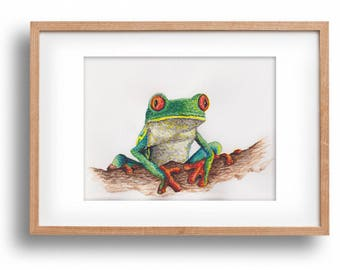 "Original watercolor painting ""Naughty Tree Frog""-handpainted-unique work of art-tree frog-optional framed"