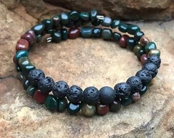Natural Indian Bloodstone Pebble Bead Bracelet   Essential Oil Diffuser Bracelet  Lava bead wrap bracelets
