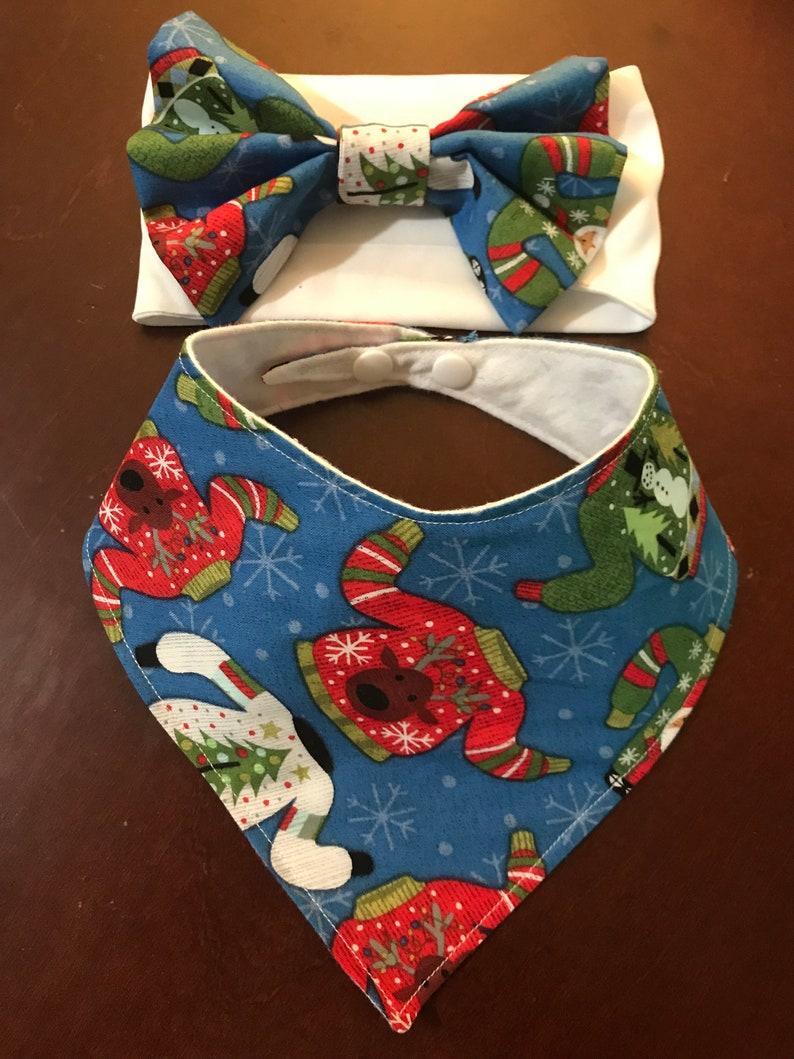 7eeabe8ed1 Ugly Sweater 2 piece bib and bow set/bibdana/droolbib/hair bows/head  wraps/gift set