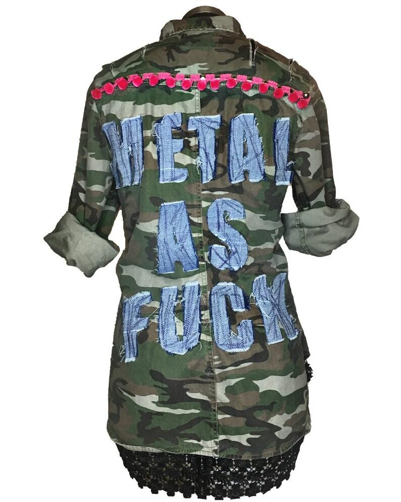 4320c9ac13f8 METAL AS FCK Camouflage Jacket Punk Rock Style Grunge | Etsy