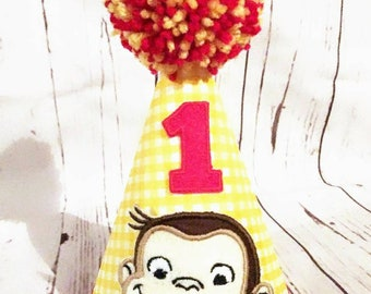 7a814b03b27 Curious George Birthday Party Hat, 1st Birthday Hat, ONE Birthday Hat, Curious  George Birthday Hat, Monkey Birthday, Curious George, TWO