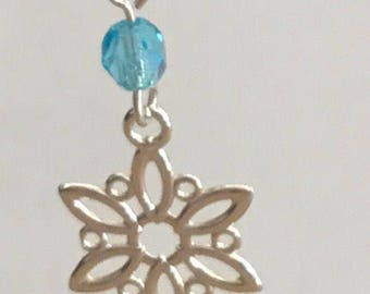 Sterling snowflake earring with 4mm crystal bead