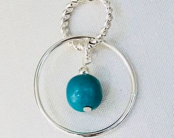 Sterling silver double dangle earring with turquoise stone