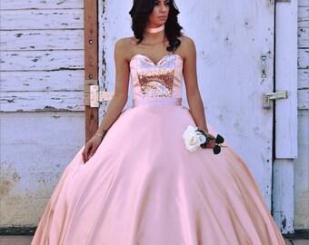 db702c836ac Adriana Rose Gold Quinceanera Dress