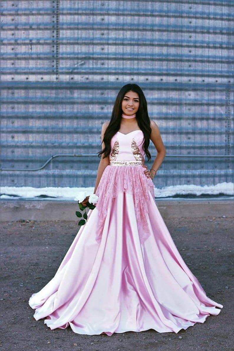 a5dec1801d2 Adriana Rose Gold Prom Dress
