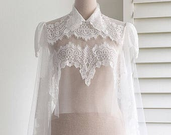 Bridal tulle lace cape Wedding cape Bridal cape Wedding cover up Wedding capelet Bridal separates Vintage wedding cape Boho cape
