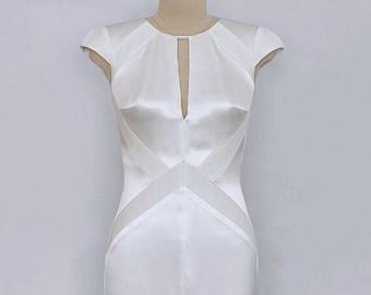 Silk Satin Cup Sleeve Open Back Wedding Gown/ Modern Bridal Gown/ Art Deco Wedding Dress/ Alternative Wedding Dress/ Elegant gown/ PAVA