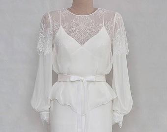 Lace bridal bolero Long sleeve lace top Bridal cover up Silk bridal blouse top White lace blouse Vintage bridal top Sheer wedding top