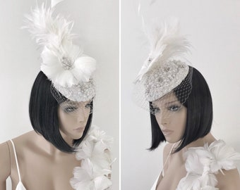 Bridal Feather Fascinator Hat For Bride Kentucky Derby Cocktail Pillbox Veil Headpiece Racing Beaded Royal Ascot
