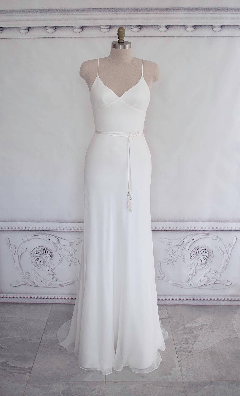 Bias Cut Silk Georgette Wedding Dress Boho Gown Beach
