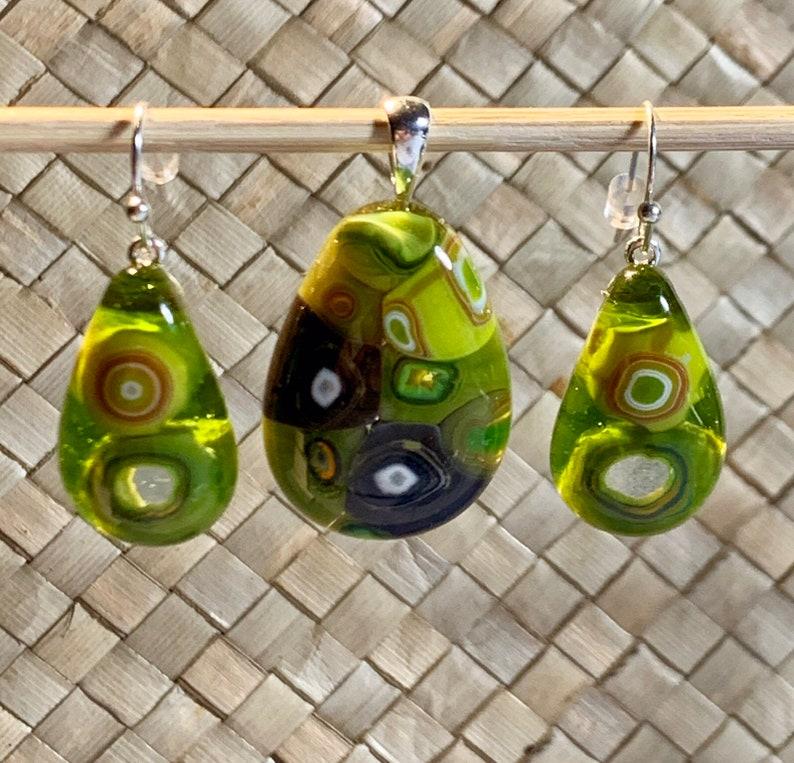 Green murrini art glass teardrop pendant and earrings handmade by GirlsWithGlassesLtd