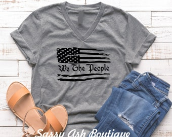 We The People Shirt, America, Election Year, Patriot, Unisex V-Neck Bella+Canvas Soft Shirt Plus Sizes Avail
