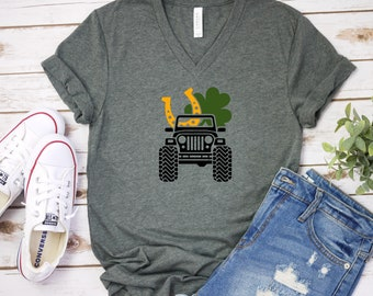b628e8380 Jeep Luck   Gold Horseshoe   Clover   Jeep   Jeep Life   Jeep Girl   Jeep  Mom   Lucky   St Patricks   Soft Unisex V Neck T   Plus Size Avail