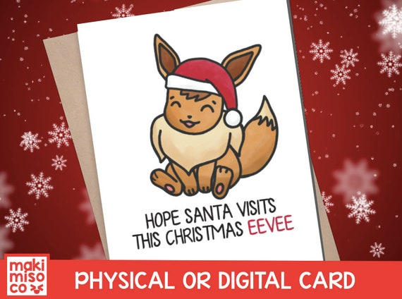 Christmas Eevee.Christmas Eevee Card Santa Holidays Xmas Love Pikachu Print Friend Gamer Holidays Pun Couple Pokemon Lets Go Kawaii Nintendo