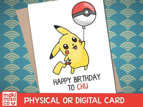 Pikachu Birthday Card Love Birthday Boyfriend Girlfriend