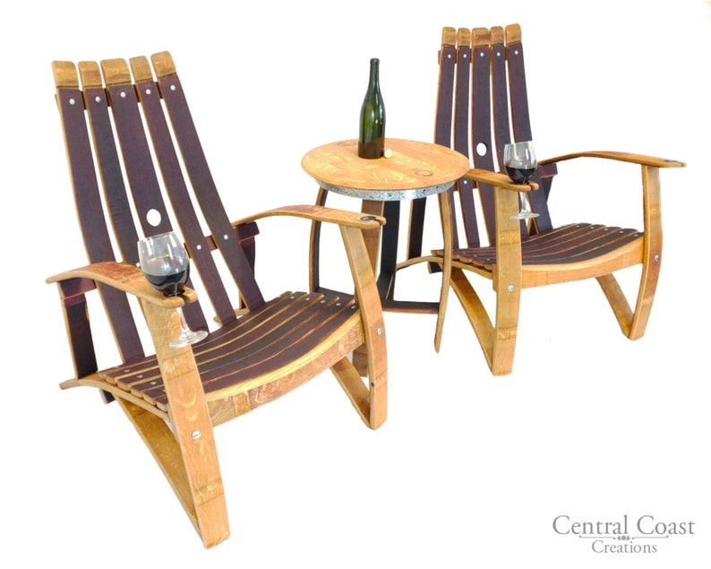 Chaise ADIRONDACK tonneau de vin ensemble mobilier dextérieur | Etsy
