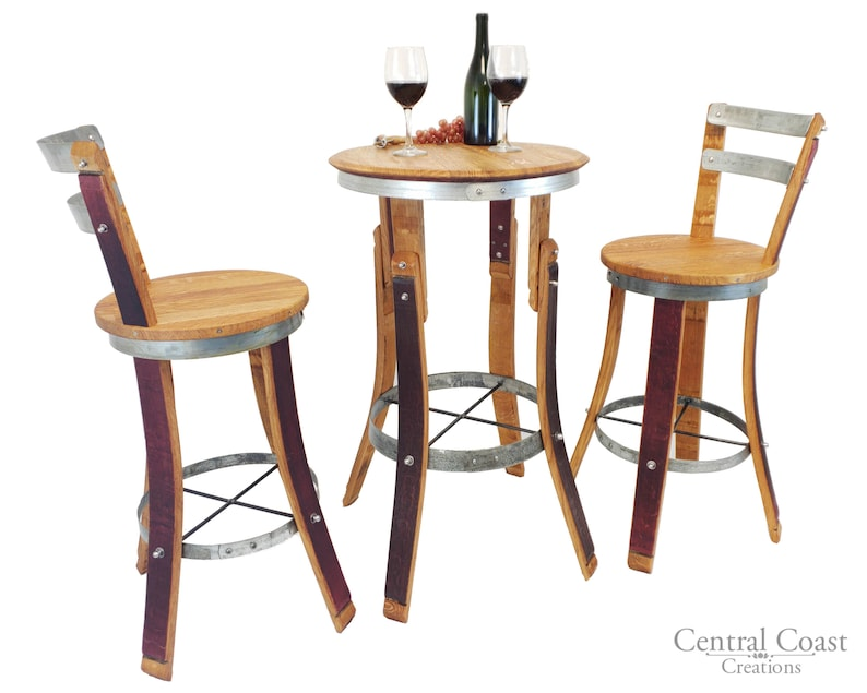 Cool Wine Barrel High Pub Set Rustic Swivel Stools Furniture Bar Bistro Free Shipping Gmtry Best Dining Table And Chair Ideas Images Gmtryco