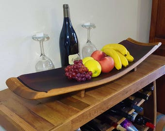 Wine Barrel Stave Large Fruit Platter Rutic Furniture Kitchen