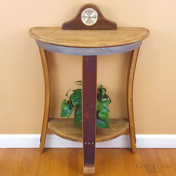 Half Wall Table: Wine Barrel Half Moon Table End Wall Table