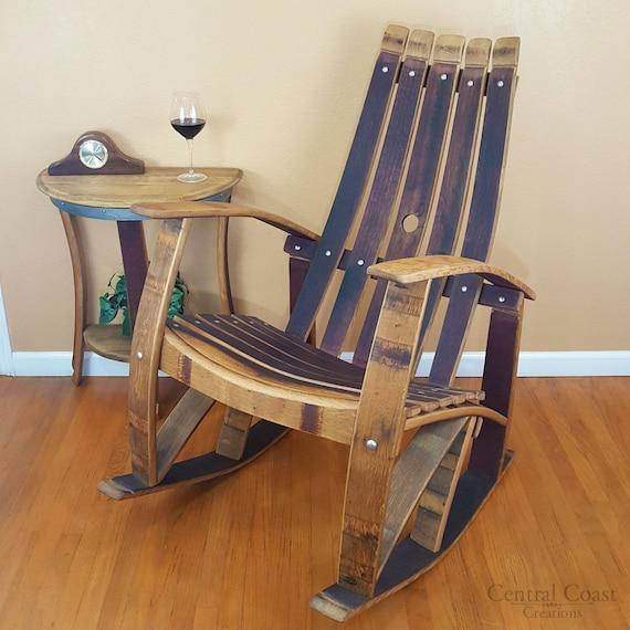 WINE BARREL Stave ROCKING Chair Rustic Furniture Home