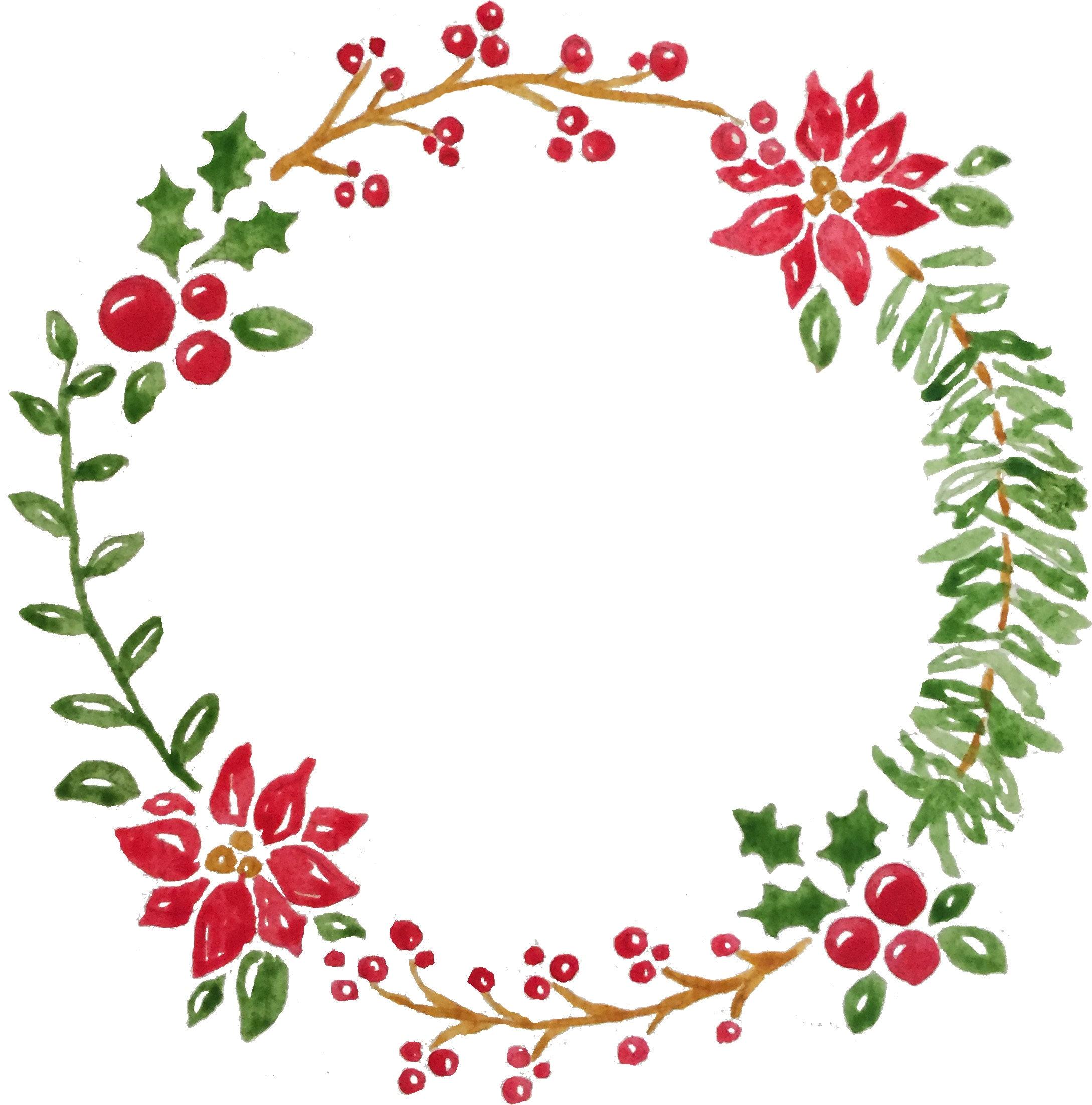 Christmas Watercolor Wreath Clip Art   Etsy